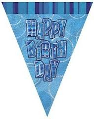 Blue Birthday Flag Banner -0