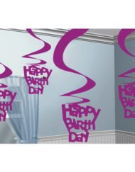 'Happy Birthday' Hanging Swirl Decorations -0