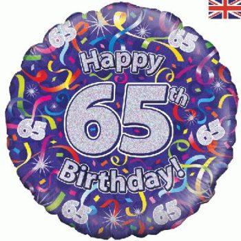 "65th Birthday Streamers 18"" Foil Balloon-0"