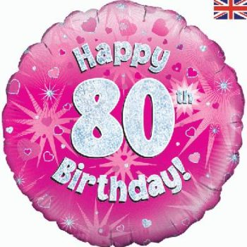 """18"""" Pink Happy 80th Foil Balloon -0"""