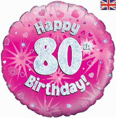 18 Pink Happy 80th Foil Balloon 0