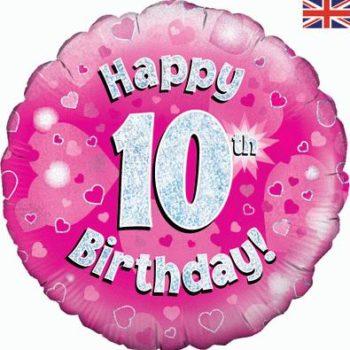 "10th Birthday 18"" Pink Foil Balloon-0"
