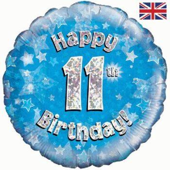 "11th Birthday 18"" Blue Foil balloon-0"