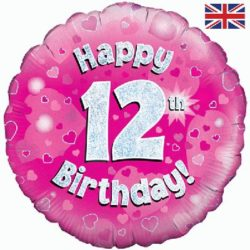 "12th Birthday 18"" Pink Foil Balloon-0"