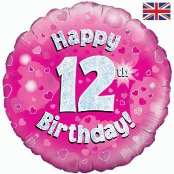 "12th Birthday 18"" Pink Foil Balloon-0"