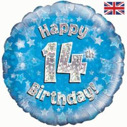 "14th Birthday Blue 18"" Foil Balloon-0"