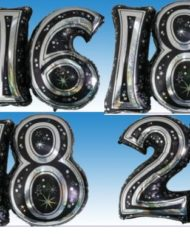 "28"" Black & Silver Joined Number Foil Balloon-0"