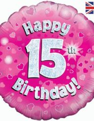 "15th Birthday 18"" Pink Foil Balloon-0"