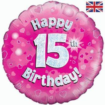 "15th Birthday 18"" Pink Foil Balloon-0"