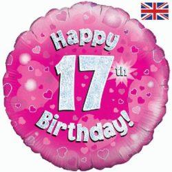 "Pink 17th 18"" Foil Balloon-0"