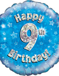 "9th Birthday 18"" Blue Foil Balloon-0"