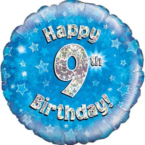 "9th Birthday 18"" Blue Foil Balloon-0"