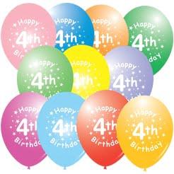 4th Birthday Latex Balloon 0