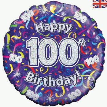 100th Birthday Streamers Foil Balloon-0