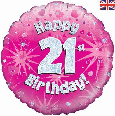 21st Birthday Pink Foil Balloon 0
