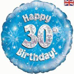 30th Birthday Blue Foil Balloon-0