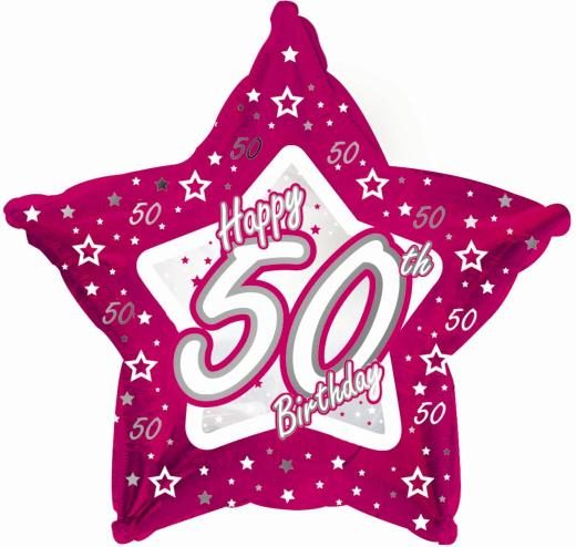50th Birthday Pink Star Foil Balloon 0