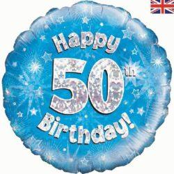 50th Birthday Blue Foil Balloon-0