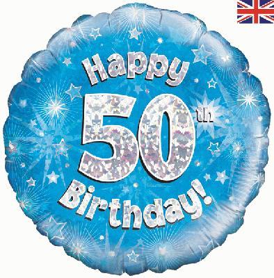 50th Birthday Blue Foil Balloon 0