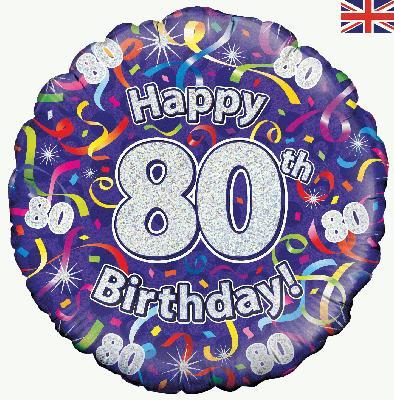 80th Birthday Streamers Foil Balloon 0