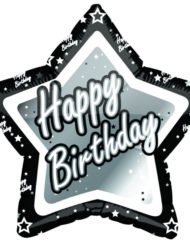 Black and Silver Happy Birthday Foil Balloon-0