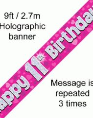11th Birthday Foil Pink Banner-0
