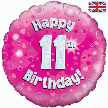 11th Birthday Pink Foil Balloon-0
