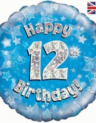 12th Birthday Blue Foil Balloon-0