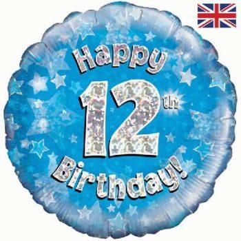 12th Birthday Blue Foil Balloon-0
