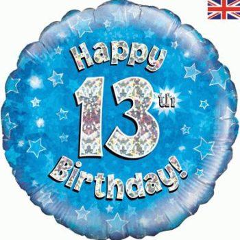 13th Birthday Blue Foil Balloon-0