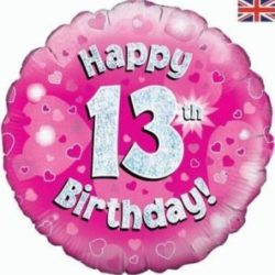 13th Birthday Pink Foil Balloon-0