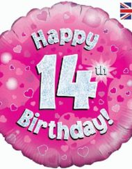 14th Birthday Pink Foil Balloon-0