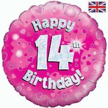 14th Birthday Pink Foil Balloon-0