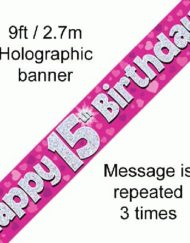 15th Birthday Pink Foil Banner-0