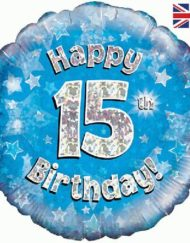 15th Birthday Blue Foil Balloon-0