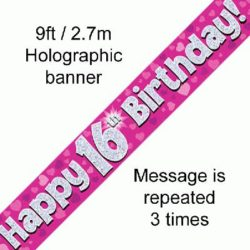 16th Birthday Pink Foil Banner-0