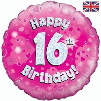 16th Birthday Pink Foil Balloon-0