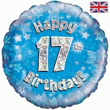 17th Birthday Blue Foil Balloon-0