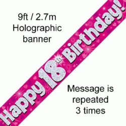 18th Birthday Pink Foil Banner-0