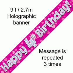 4th Birthday Foil Pink Banner-0