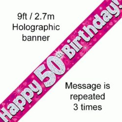 50th Birthday Pink Foil Banner-0
