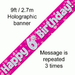6th Birthday Pink Foil Banner-0
