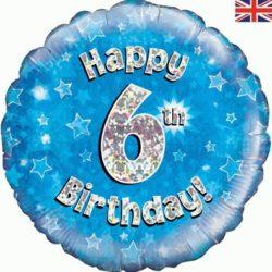 6th Birthday Blue Foil Balloon-0
