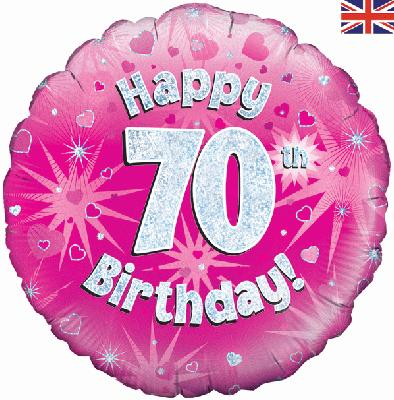 70th Birthday Pink Foil Balloon 0