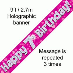7th Birthday Pink Foil Banner-0
