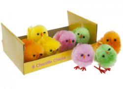 8 Chenille Easter Chicks Bright Neon Colours -0