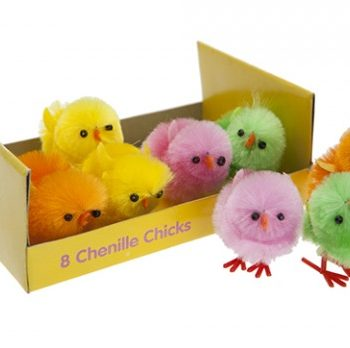 8 Chenille Easter Chicks Bright Neon Colours -0