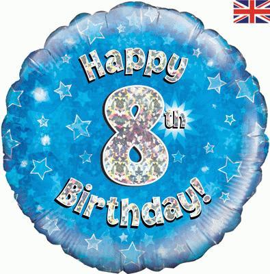 8th Birthday Blue Foil Balloon 0
