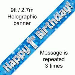 1st Birthday Foil Blue Banner-0