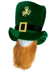 Velvet Leprechaun Hat With Beard-0